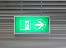 Green neon exit sign Royalty Free Stock Images