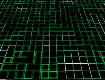 Green Neon Glowing Tiles. A background of green neon glowing tiles stock photos