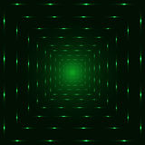 Green neon laser perspective tunnel, black background Royalty Free Stock Images