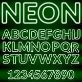 Green neon light alphabet.Vector Royalty Free Stock Photos