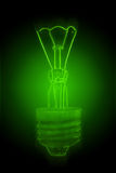 Green neon light bulb Stock Image