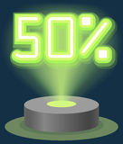Green Neon Light Discount Sale 50 Percent. Hologram Cyber Monday Sign Vector. Illustration Vector Illustration
