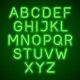 Green neon light glowing font. Green neon light glowing alphabet stock illustration