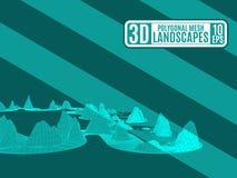 Green neon mountainous terrain polygonal for advertising royalty free illustration