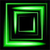 Green neon square vector background Stock Images