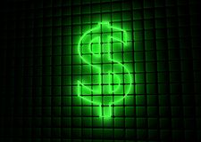 Green neon symbol of dollar Royalty Free Stock Photos