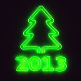 Green neon tree 2013. Glowing neon sign 2013 and christmas tree Royalty Free Stock Photos