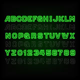 Green neon typeface. Light turn on and off. Stock Images