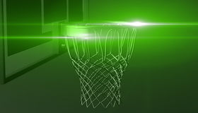 Green net of a basketball hoop on various material and background, 3d render. Sports background, basketball hoop net Stock Photography