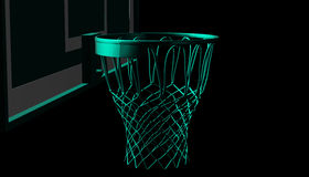 Green net of a basketball hoop on various material and background, 3d render. Sports background, basketball hoop net Royalty Free Stock Photos