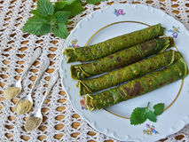 Green nettle pancakes Royalty Free Stock Photos