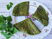 Green nettle pancakes Royalty Free Stock Images