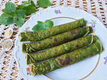 Green nettle pancakes Stock Photography