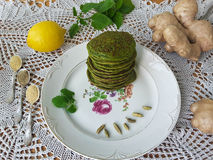 Green nettle pancakes Stock Image