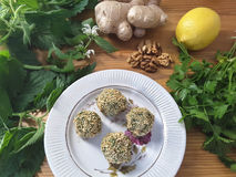 Green nettle pate paste with walnuts and ginger Stock Image