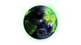 Green network on a lighted and cloudy Earth with Earth image courtesy of Nasa.org Royalty Free Stock Image