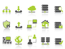 Green network server hosting icons Royalty Free Stock Photos