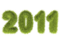 Green new year. 2011 with green grass texture, over white background vector illustration