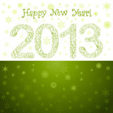 Green New Year 2013 Card. Hand-Drawn Christmas 2013 Numbers with Snowflakes Royalty Free Stock Photos