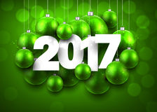 Green 2017 New Year background. Green 2017 New Year background with Christmas balls. Vector illustration Stock Photo