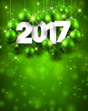 Green 2017 New Year background. Green 2017 New Year background with Christmas balls. Vector illustration Stock Photos