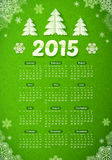 Green 2015 new year calendar with paper Christmas. Vector green 2015 new year calendar with paper Christmas trees Royalty Free Stock Photos