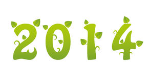 2014 green new year. Green new year with leafs and germs royalty free illustration