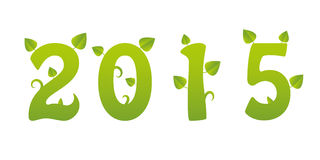 2015 green new year. Green numbers with leaves and germs Royalty Free Stock Photos