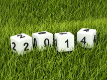 Green 2014 New Year sign. On grass Stock Illustration