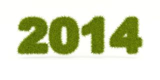 Green 2014 New Year sign. Isolated on white Royalty Free Illustration