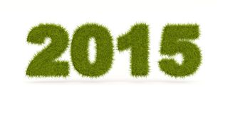Green 2015 New Year sign. Isolated on white Royalty Free Stock Images