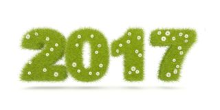 Green 2017 New Year sign isolated on white. 3D illustration Stock Image