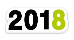 2018 Green new year sticker icon. 2018 Green new year sticker vector icon royalty free illustration