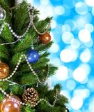 Christmas tree on holiday background Stock Photography