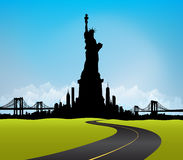 Green New York City skyline Statue of liberty Vector Stock Image