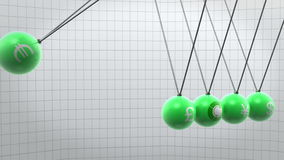 Green newton pendulum with different currencies on it stock video