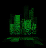Green night city lights landscape design with reflections in the water Royalty Free Stock Photography
