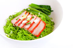 Green noodle with pork and vegetables Royalty Free Stock Photography