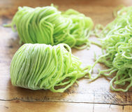 Green noodles. Prepare for cook Royalty Free Stock Image