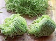 Green noodles. Prepare for cook Stock Photos