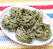 Green noodles. Some italian pasta made with spinach stock image