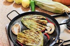 Green nopal cactus on hot pan Stock Image