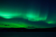 Green northern lights (aurora borealis) Royalty Free Stock Photos