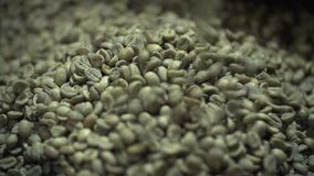 The Green Not Fried Coffee Slowly Falls stock video footage