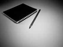 Green Note Book and Pencil Stock Photography