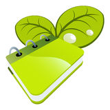 Green notebook and leaves Royalty Free Stock Photography