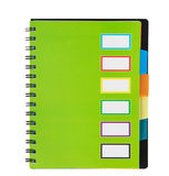 Green notebook on spirals Stock Images