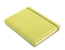 Green notebook on white background Stock Photo