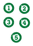 Green numbers. Damaged green numbers for one to five for counting top charts on white background for easy clipping Stock Photo
