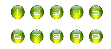 Green Numbers Icons Set [01]. A Glossy Green Icons Numbers Set vector illustration